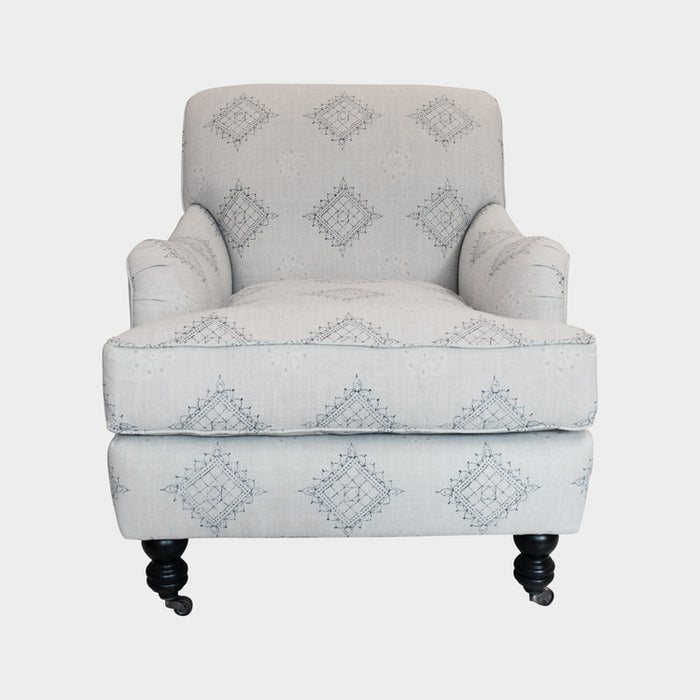 Cisco Brothers Beaumont Chair in Charlize Mist ready immediately showcases handmade in the USA and eco-friendly furniture in an accent chair for colorful home decor - Collyer's Mansion