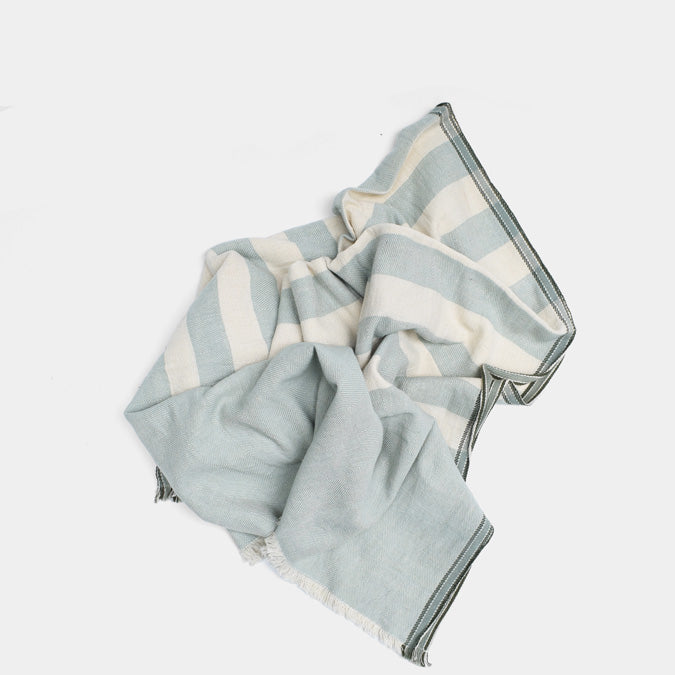 Aqua Green Stripe Cotton Throw by Moismont at Collyer's Mansion