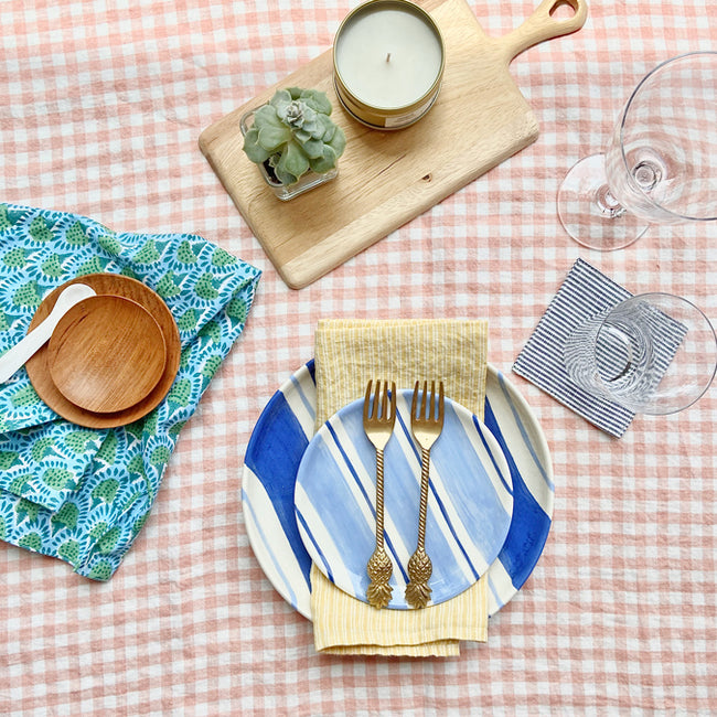 Linen Tablecloth, copper gingham