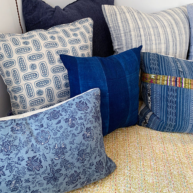 Blue Plaid Pillow, square