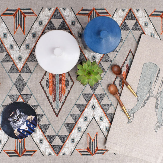 Handmade white box on Coral & Tusk table runner creates a Colorful Home Decor and colorful tablescapes - Collyer's Mansion