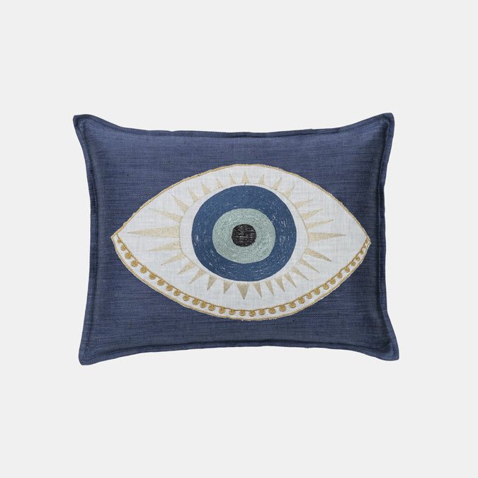 Evil Eye Applique Pillow, lumbar