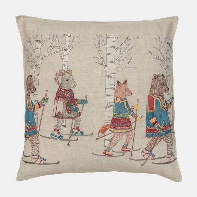 Cross Country Skiers Pillow, square