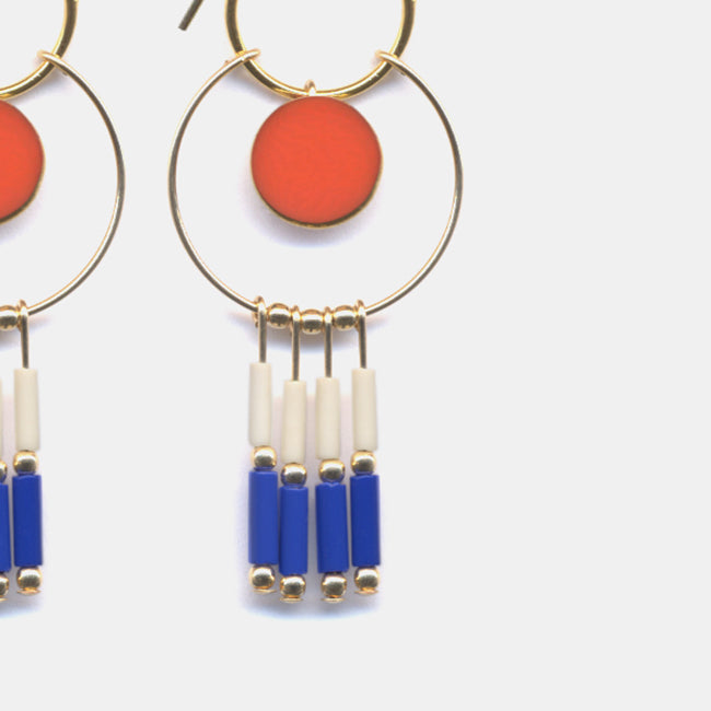 Coral Beach Hoop Earrings