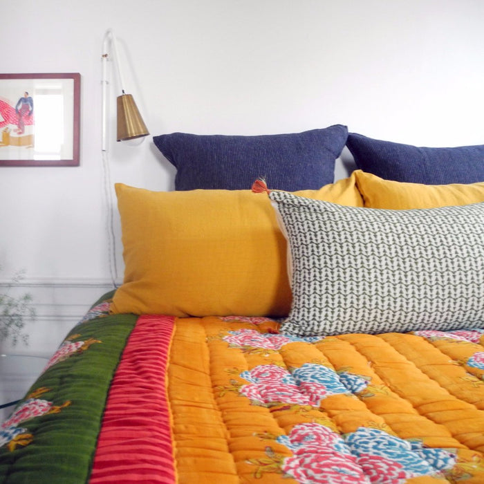 Corolla Green Gold Quilt, queen/king
