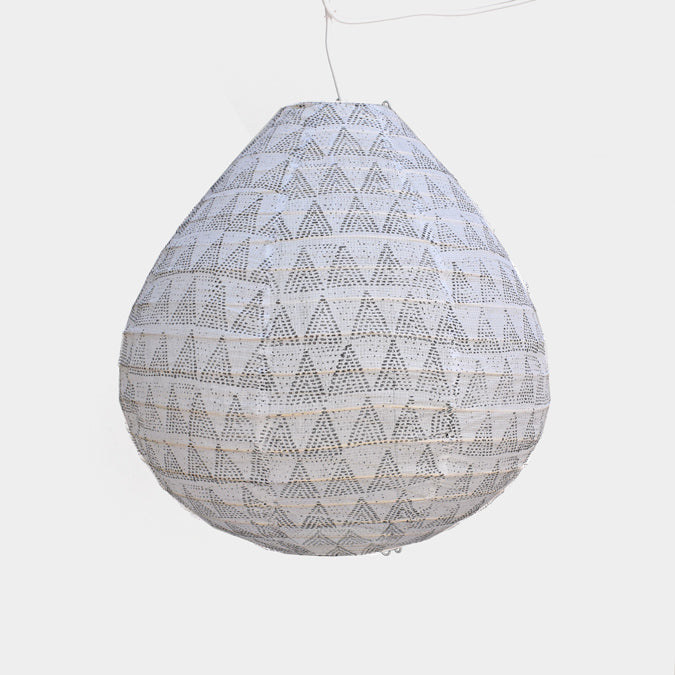 Affordable Lighting Cotton and Bamboo Grey Pendant Lantern for Colorful Home Decor at Collyer's Mansion