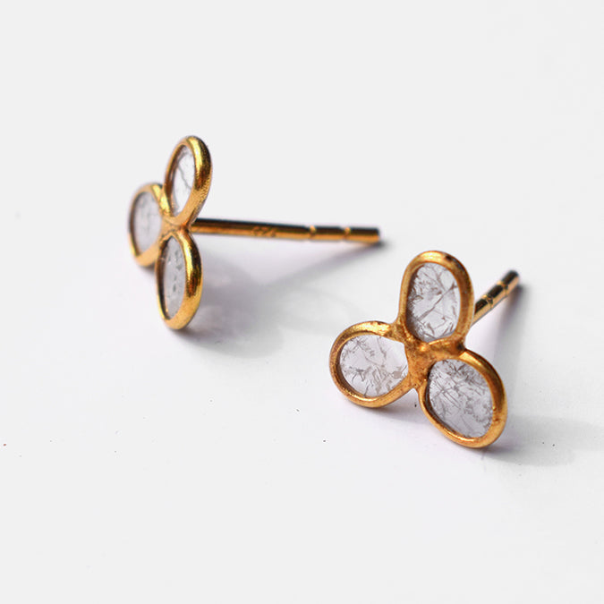 Flower Trio Studs, diamond slices