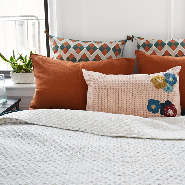 Linge Particulier Sienna Orange Standard Linen Pillowcase Sham with stitched Indian quilt and embroidered pillow for a colorful linen bedding look in burnt orange - Collyer's Mansion