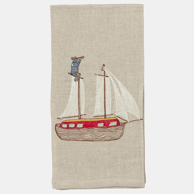 Dog on Deck Tea Towel