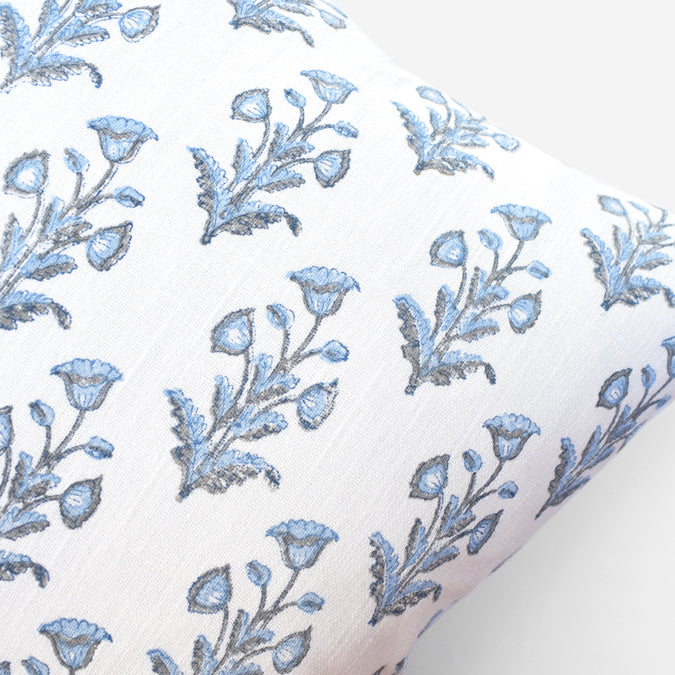 Blue Grey Dogflower Pillow, square