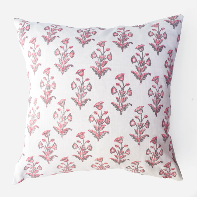 Pink Grey Dogflower Pillow, square
