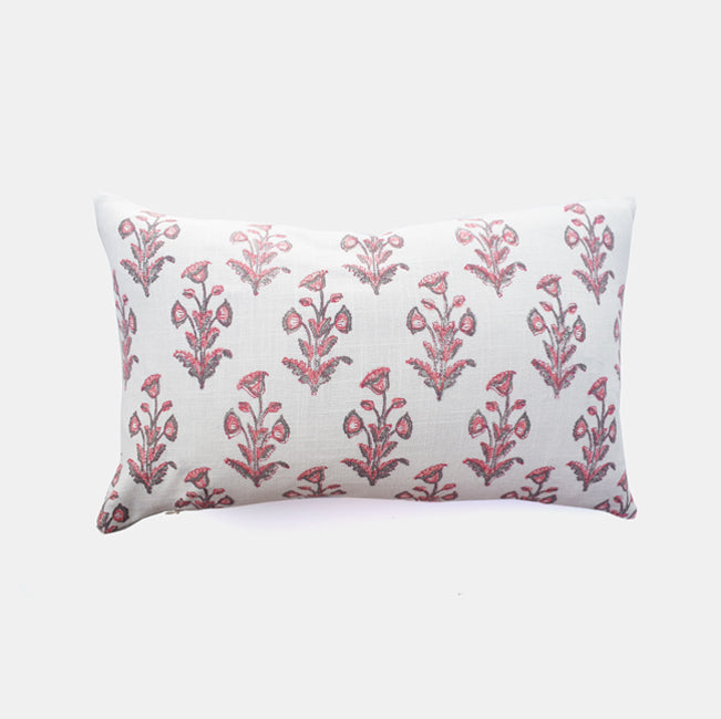 Pink Grey Dogflower Pillow, lumbar