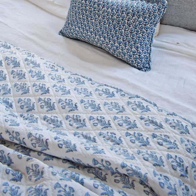 Dogflower Blue Grey Quilt, multiple sizes