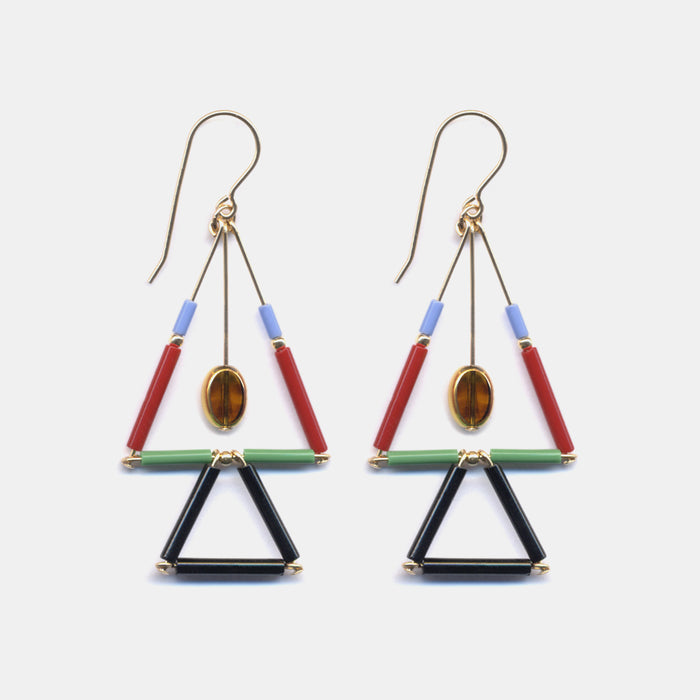 Double Mosaic Triangle Drops Earrings