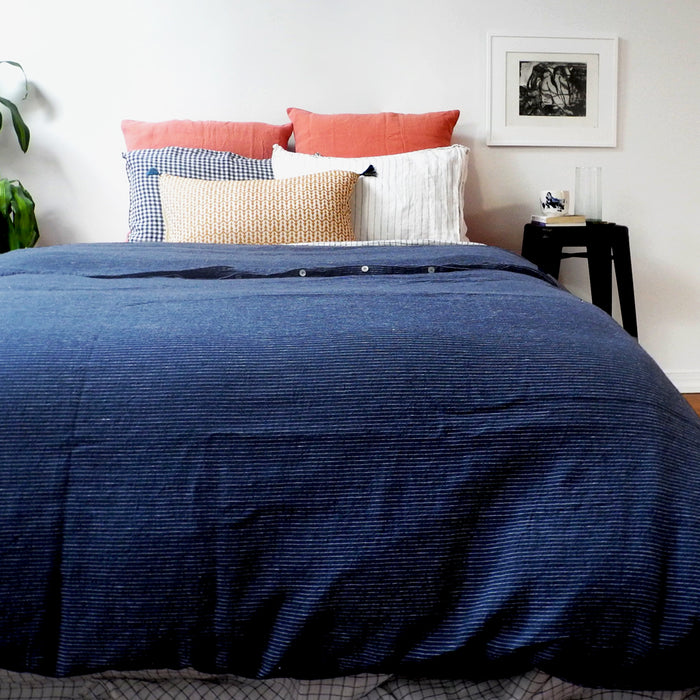 Linen Duvet, borsalino stripe, Duvet, Linge Particulier, Collyer's Mansion - Collyer's Mansion
