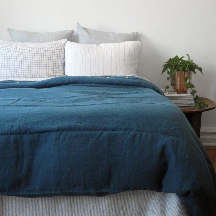Linen Duvet, duck blue