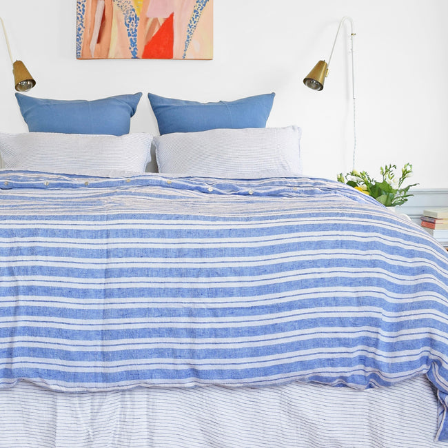 Linge Particulier Atlantic Blue Euro Linen Pillowcase Sham with a blue stripe linen duvet for a colorful linen bedding look in electric blue - Collyer's Mansion