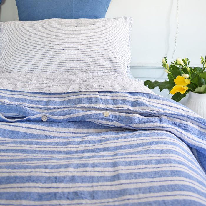 Linen Duvet, large blue stripes