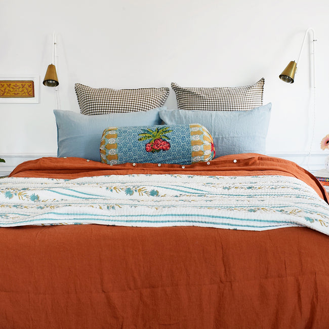 Linge Particulier Scandinavian Blue Standard Linen Pillowcase Sham with Lisa Corti pillow and green gold quilt for a colorful linen bedding look in grey blue - Collyer's Mansion