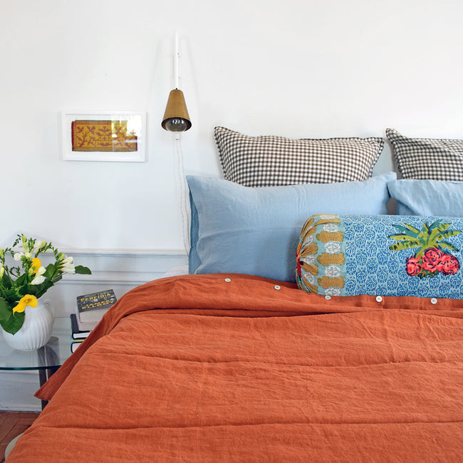 Linge Particulier Scandinavian Blue Standard Linen Pillowcase Sham with Lisa Corti pillow and sienna linen duvet for a colorful linen bedding look in grey blue - Collyer's Mansion