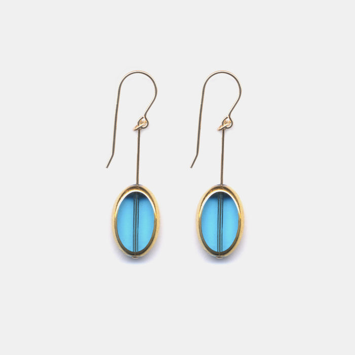 Blue Oval Earrings