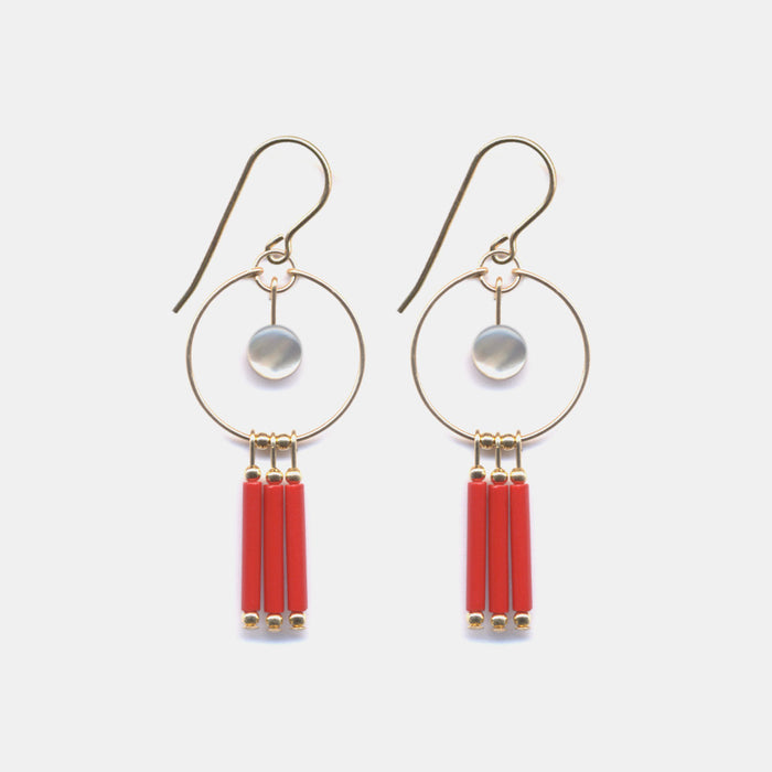 Red Fringe Hoop Earrings
