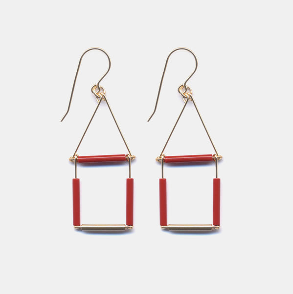 Mosaic Red Square Drop Earrings