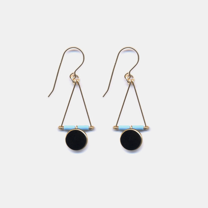Blue and Black Triangle Drop Earrings, Earrings, I. Ronni Kappos, Collyer's Mansion - Collyer's Mansion