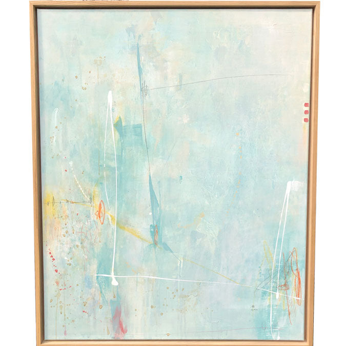 Elaine Tian Original Artwork abstract teal painting on linen framed for affordable art - Collyer's Mansion