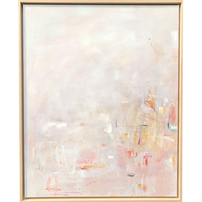 Elaine Tian Original Artwork abstract pink painting on linen framed for affordable art - Collyer's Mansion