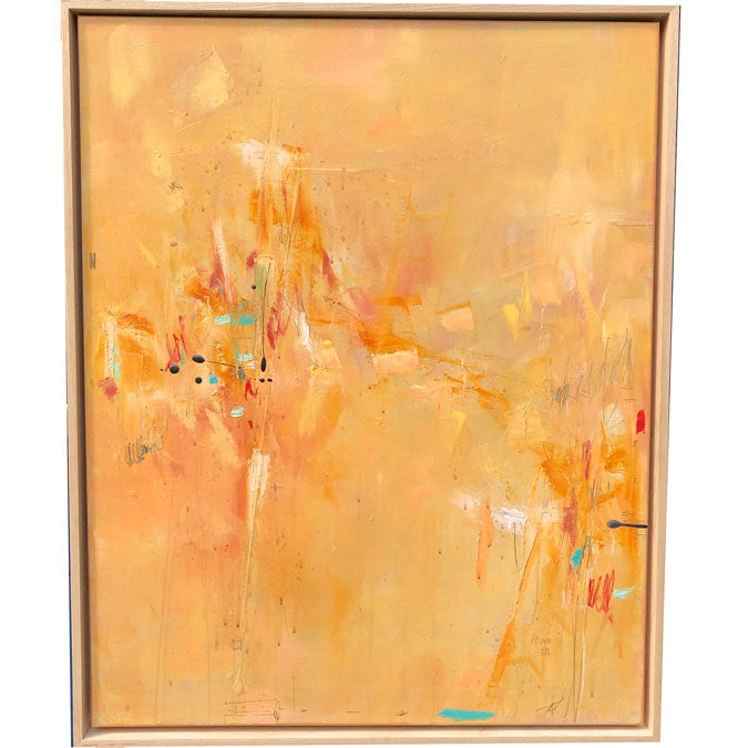 Elaine Tian Original Artwork abstract orange painting on linen framed for affordable art - Collyer's Mansion