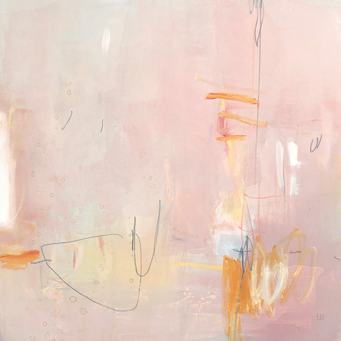 Elaine Tian Original Artwork abstract pink painting on wood for affordable art - Collyer's Mansion