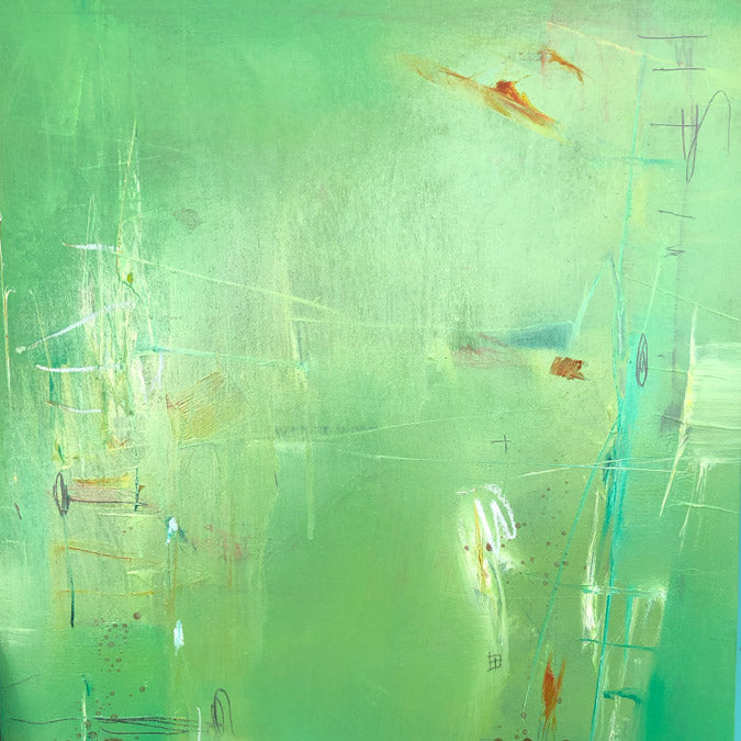 Elaine Tian Original Artwork abstract green painting on wood for affordable art - Collyer's Mansion