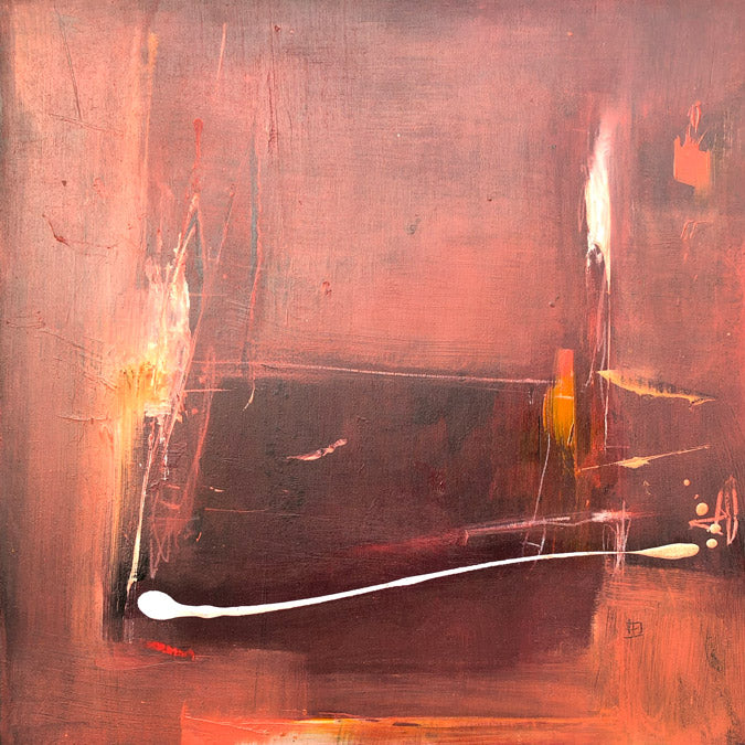 Elaine Tian Original Artwork abstract red painting on wood for affordable art - Collyer's Mansion