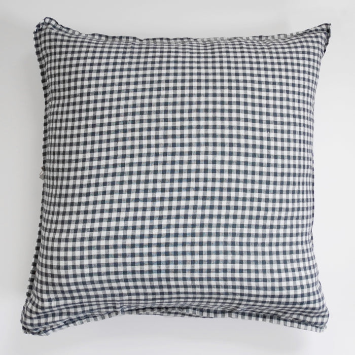 Linen Euro Pillowcase, anthracite gingham, Pillowcase, Linge Particulier, Collyer's Mansion - Collyer's Mansion