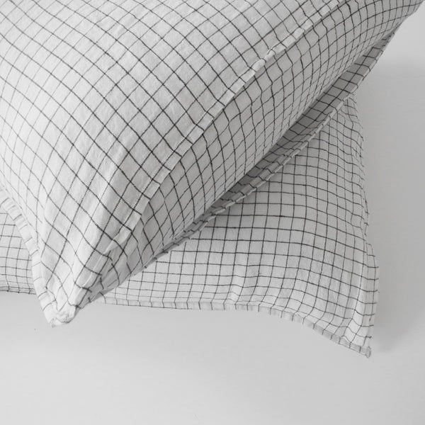 Linen Euro Pillowcase, black check