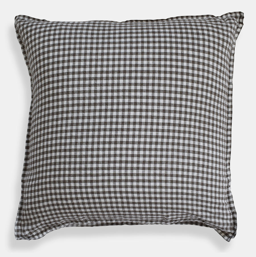 Linen Euro Pillowcase, brown gingham