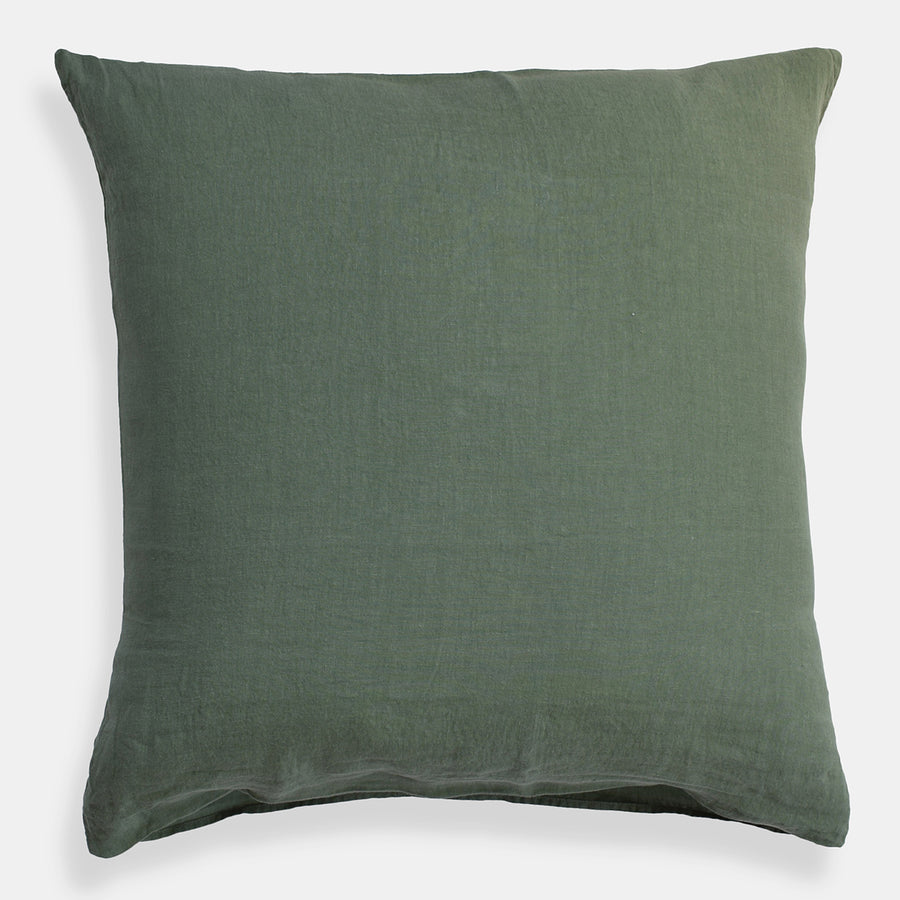 Linge Particulier Jade Green Euro Linen Pillowcase Sham for a colorful linen bedding look in camo green - Collyer's Mansion