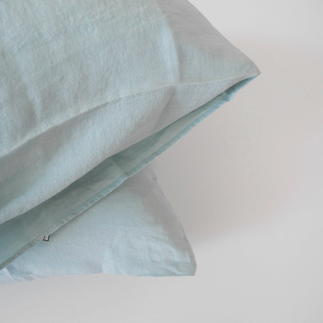 Linge Particulier Pale Blue Euro Linen Pillowcase Sham for a colorful linen bedding look in light blue - Collyer's Mansion