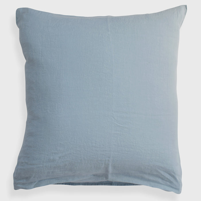 Linge Particulier Scandinavian Blue Euro Linen Pillowcase Sham for a colorful linen bedding look in grey blue - Collyer's Mansion