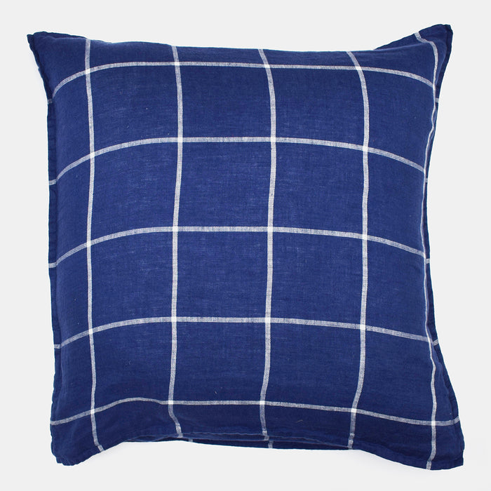 Linen Euro Pillowcase, blue tartan