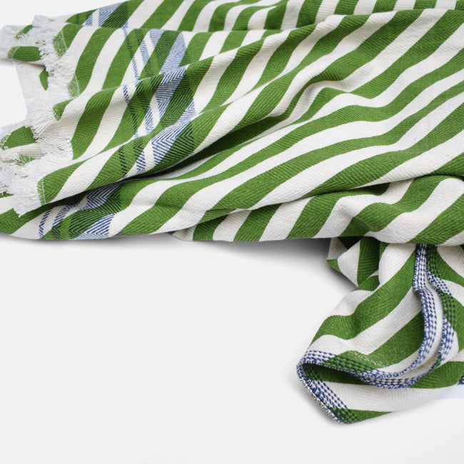 Evergreen Olive Green Stripe Cotton Throw by Moismont at Collyer's Mansion