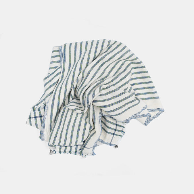 Evergreen Thin Stripe Cotton Throw by Moismont at Collyer's Mansion