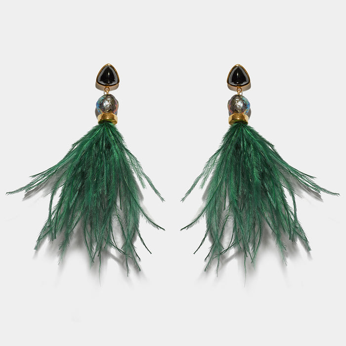 feather earrings dark green forest lightweight