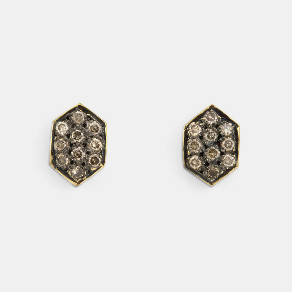 Flat Hexagon Brown Diamond Studs
