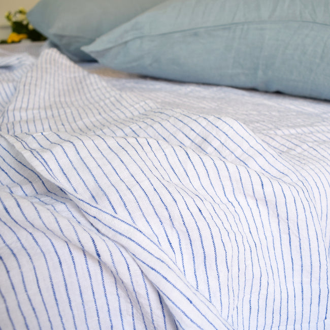 Linen Flat Sheet, atlantic blue stripe