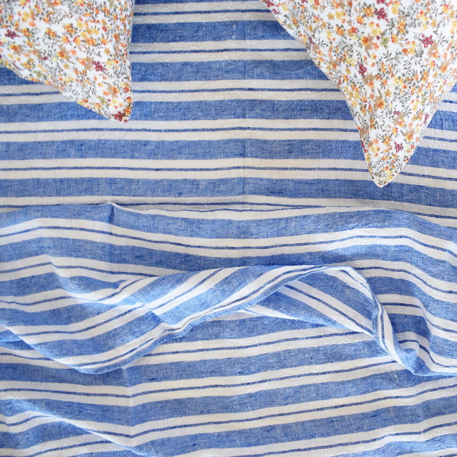 Linge Particulier colorful linen bedding large blue stripe french linen sheet at Collyer's Mansion