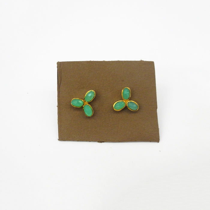 Flower Trio Studs, chrysoprase, Earrings, River Song, Collyer's Mansion - Collyer's Mansion