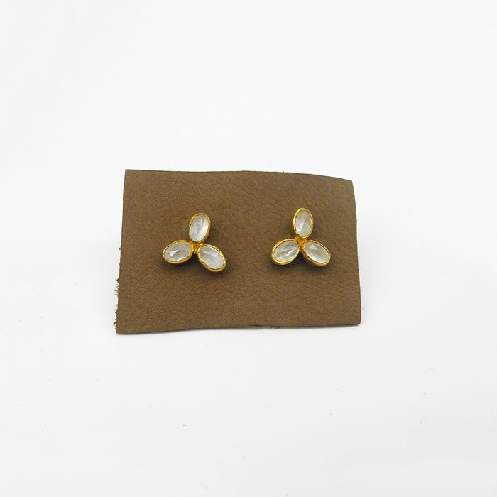 Flower Trio Studs, moonstone