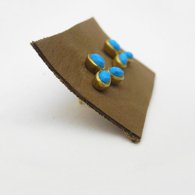 Flower Trio Studs, turquoise, Earrings, River Song, Collyer's Mansion - Collyer's Mansion